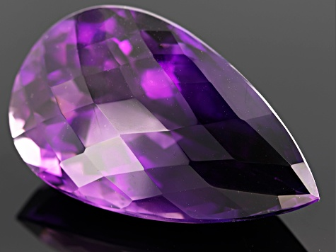 Amethyst 40.27x23.75ct Pear Shape Checkerboard Cut 82.87ct
