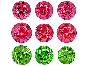 Set Of 9, Six Vietnamese Untreated Pink Spinel And Thred Russian Demantoid 1.04ctw 2.7-3mm Round