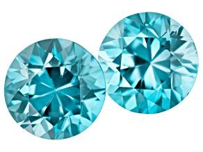 Blue Zircon Matched Pair 10.3mm round 13.04ctw