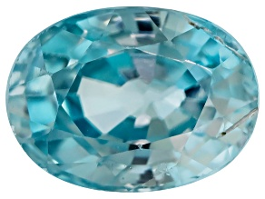 Blue Zircon 7x5mm Oval Mixed Step Cut 1.25ct