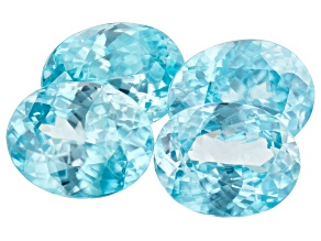 Blue Zircon 11.43ct Set Of 4: Varies mm Included Oval