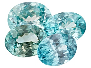 Blue Zircon 9.17ct Set Of 4: Varies mm Included Oval