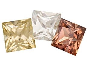 Zircon 5mm Square Princess Cut 2.80ctw Minimum Set Of 3