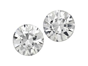 White Zircon 6mm Round Diamond Cut Set of 2 1.75ctw
