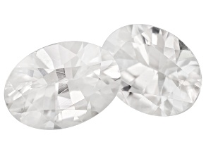 White Zircon 7x5mm Oval 1.90ctw Set Of 2