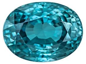 Blue Zircon 9x7mm Oval  3.00ct