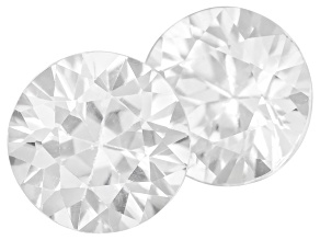 White Zircon 6.5mm Round Diamond Cut Set 2.20ctw