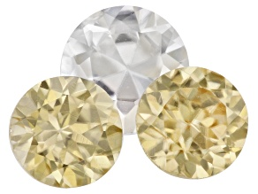 White and Yellow Zircon Round Brilliant Cut Set of 3 2.32ctw