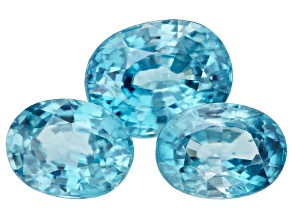 Blue Zircon Oval Set of 3 6.98ctw