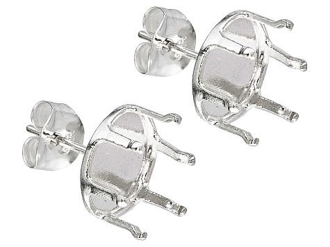 Gemtite Nostalgia™ 10x8mm Oval 6-Prong Sterling Silver Earring Castings