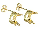 Solid 14kt Yellow Gold 10x8mm Oval 4-Prong Earrings Settings
