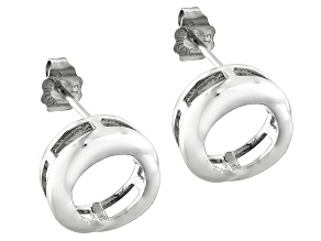 Gemgroove Nostalgia™Bezel 8mm Round Sterling Silver Rhodium Over Earring Castings