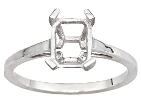 Gemsavvy Nostalgia™  Sterling Silver 8x6mm Rectangular Octagon 4 Prong Ring Casting