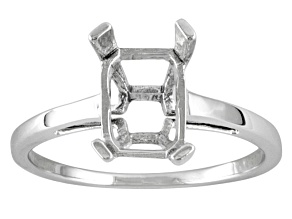 Gemsavvy Nostalgia ™ 10k Wg 8x6mm Rectangular  Octagonal  4 Prong Ring Casting