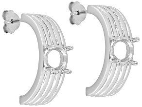 Rhodium Plated Sterling Silver 6mm Round 4-Prong Earring Castings