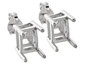 Gemsavvy Sentiments™Rhodium Over Sterling  7x5mm Rc/Oc Earring Castings