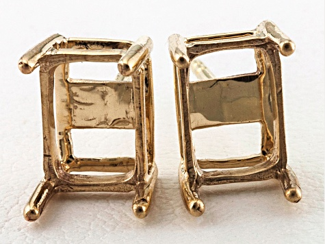 Two 14kt Solid White or Yellow Gold Low Profile Earring Castings 6x4mm-9x7mm
