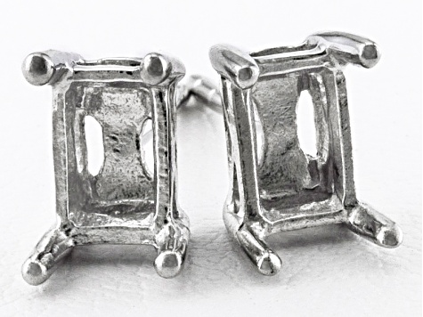 Gemsavvy Sentiments™Rhodium Over Sterling Silver 6x4mm Rc/Oc Earring Castings