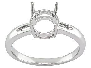 8mm Round 10k White Gold Semi Mount Ring