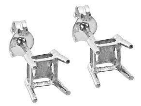 Gemsavvy Nostalgia™ 10kt White Gold 3.5mm Princess Cut Earring Castings
