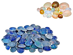 Australian Opal Triplet 100.00ctw Mixed; Ethiopian Opal Minimum 10.00ctw Mixed Cabochon