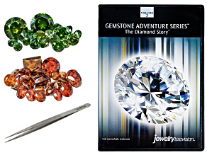 1.00ctw Red Diamond Parcel; 1.00ctw Green Diamond Parcel; Extra Fine Tip Tweezers; DVD