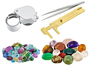 25.00ctw Spice Mix; 200.00ctw Mixed Cabochons; Loupe; Gauge; Tweezers
