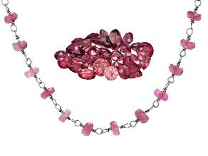 Nigerian Rubellite Tourmaline Parcel Of 10.0ctw; 20.00ctw Pink Tourmaline Rondelle Bead S/S Necklace