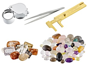 500.00ctw Mixed Small Cabs; internal Treasures ® in Quartz 100.00ctw; Loupe; Gauge; Tweezers
