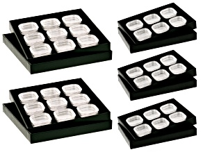 (3) Gemstone Trays Each With 6 Gemstone Jars; (2) Gemstone Trays Each With 9 Gemstone Jars