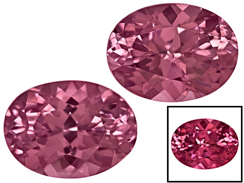 Cranberry Zandrite® Color Change Set Of Two 8x6mm Oval; 14kt Rose Gold Earring Castings