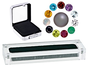 Birthstone Set: (11) 5mm Round Gems And (1) 9-11mm Round Cultured Tahitian Pearl; (2) Display Boxes