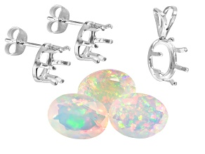 Ethiopian Opal 1.80ctw Min Set/3 8x6mm Oval; Gemtite 8x6mm Oval S/S Earring And Pendant Castings