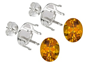 Madeira Citrine Avg 4.00ctw 10x8mm Oval Set Of 2; Sterling Silver Earring Castings
