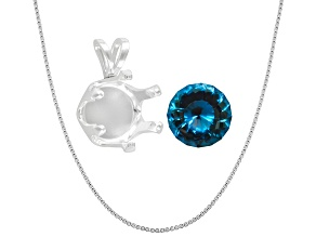 Lab Created Russian Alexandrite 10mm Round Custom Cut; Sterling Silver Pendant Casting; 18
