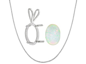 Ethiopian Opal 3.0ct Minimum 14x10mm Oval; Sterling Silver Pendant Casting; 18