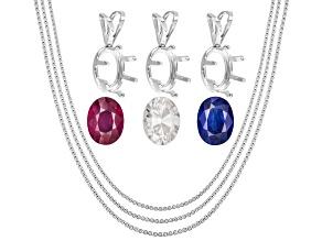 8x6mm Oval: White Zircon; Mahaleo Sapphire®; Mahaleo Ruby®; (3) S/S Pendant Casting; (3) Chains