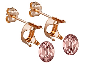 Prima Rosa Zircon™ Avg 3.30ctw 8x6mm Oval Set Of 2; 14kt Rose Gold Earring Castings