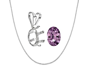 Tanzanian Lavender Spinel Avg .60ct 7x5mm Oval; Sterling Silver Pendant Casting; Chain