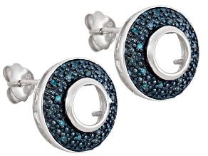 6mm Round Gemstone Setting .925 Sterling Silver .15ctw Blue Diamond Earrings