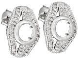 6mm Round Gemstone Setting .925 Sterling Silver .30ctw White Diamond Earrings