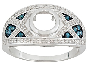 Rhodium Over Sterling Silver 6mm Rd W/.23ctw Of Dia Semimount Ring