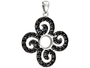 Rhodium Over Sterling Silver 8mm Round W/2ctw Blk Cz Pendant Semi Mount