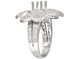 Gemsavvy Sentiments™Rhodium Over Sterling 6mm Rd W/3.96ctw Rd Cubic Zirconia Flower Semi Mount Rg