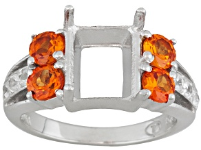 10x8mm Emerald Cut Ring Setting Created Orange Sapphire White Zircon Silver