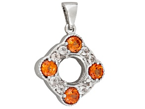 Gemsavvy Trenditions™Rhodium Over Sterling 9mm Rd W/2.24ctw Lab Pad & Wht Zircon Semi Pendant
