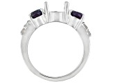Rhodium Over Sterling 9x7mm Oval W/2.14ctw Lab Alex&Wht Zir Semi Mnt Rg