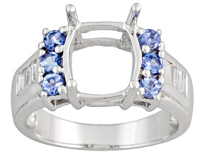 Sterling Silver 10x8mm Rectangle With Tanzanite And Zircon Semi Mount Ring