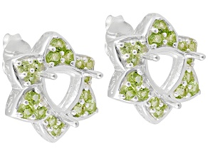 Gemsavvy Trenditions™Sterling Silver 7 mm Tr W/ 1.44ctw Peridot Semi Mnt  Earrings
