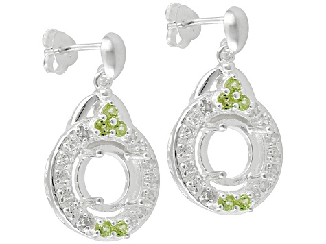 Sterling Silver 8mm Round With Peridot And Zircon Semimount Earrings